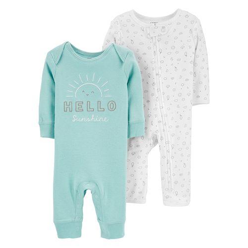2pk pijama celeste y pijama blanca para bebé niño