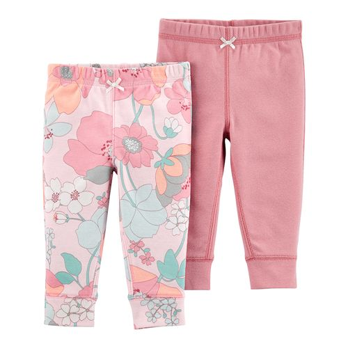 2pk pantalones rosados estampados para bebé niña