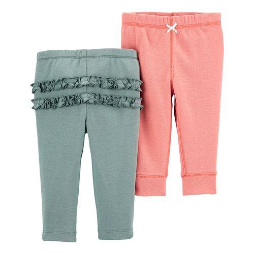 2pk pantalones rosado y gris para bebé niña