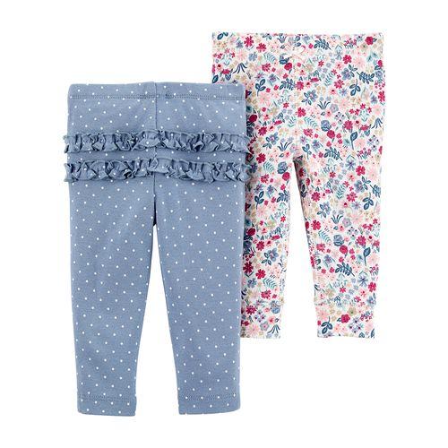 2pk pantalones floreados y celeste de puntitos para bebé niña