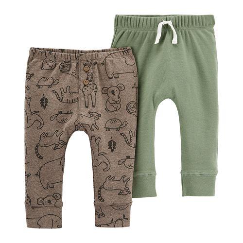 2pk pants café estampado y verde para bebé niño