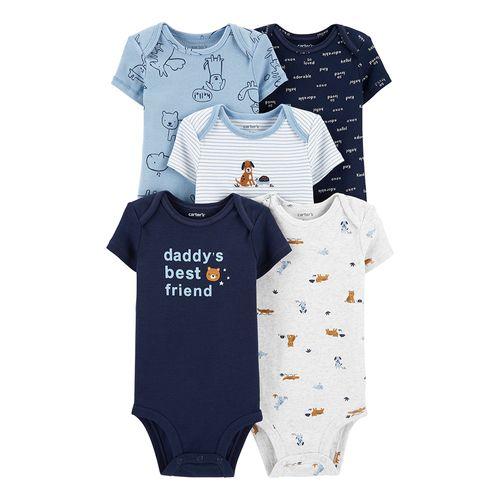 5piezas mamelucos celestes blancos y azules de perritos para bebé niño