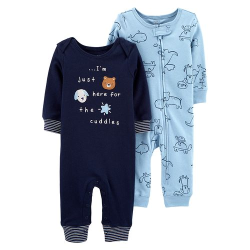 2pk pijamas celeste y azul navy de animalitos para bebé niño