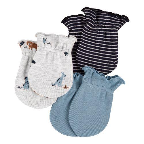 3pk guantes celestes y grises para bebé niño