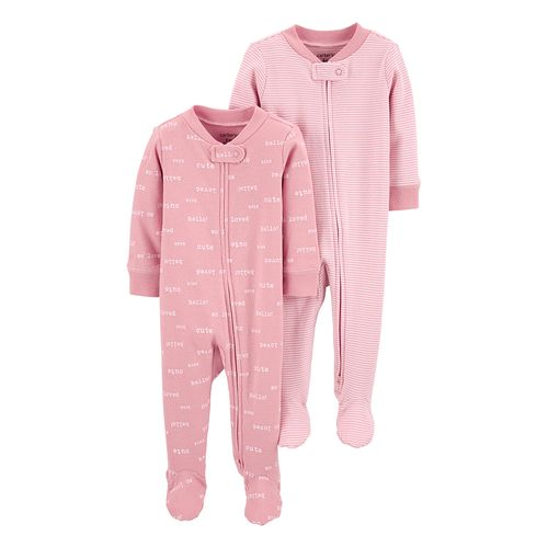 2 pack pijamas rosadas con piecitos para bebé niña