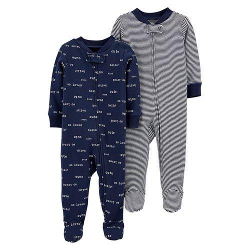 2pk pijamas con piecitos navy estampadas para bebé niño