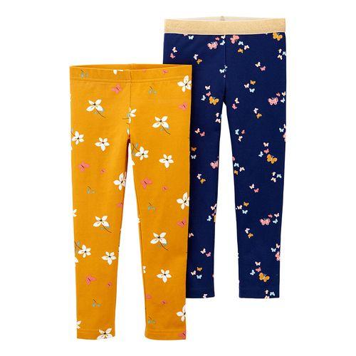 2pk leggings azul y amarillo para bebé niña