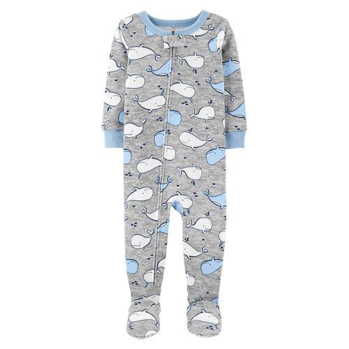 Pijama con piecitos gris de ballena para bebé niño
