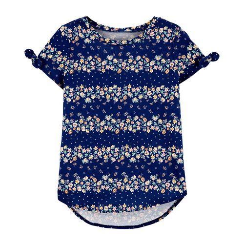 Blusa  azul con estampado de flores