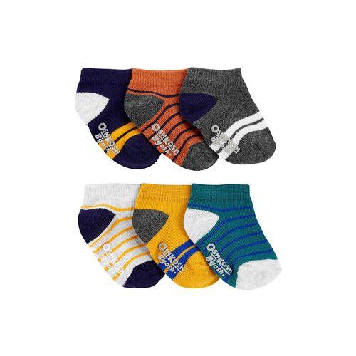 Paquete de seis pares de calcetines gris con rayas multicolor