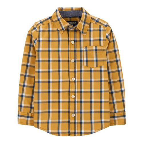 Camisa m/l amarilla con cuadros