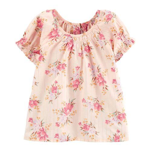 Blusa  rosada con estampado de flores