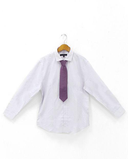 Camisa a cuadros azul y gris con corbata navy miniprint