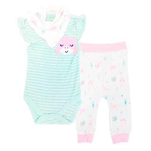 3pzs conjunto mameluco celeste pants blanco con rosado y babero para bebé