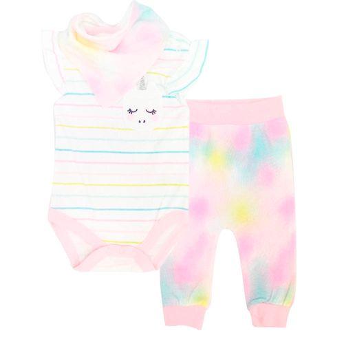 3 pzs conjunto mameluco multicolor pantalón y babero para bebé