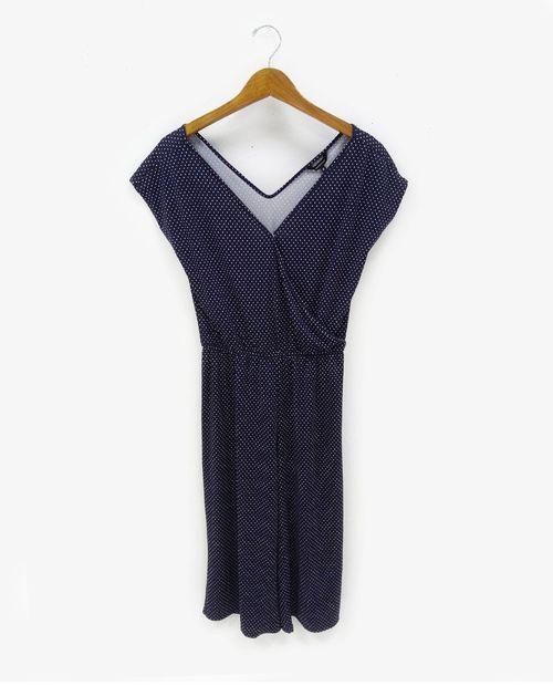 Jumpsuit cropped dots white on navy