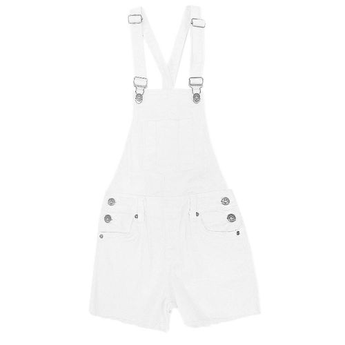 Overall twill shorts blanco