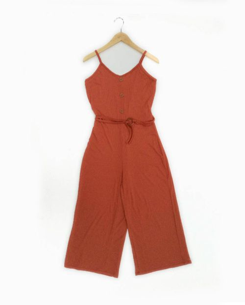 Jumpsuit con chincho solido color hot sauce