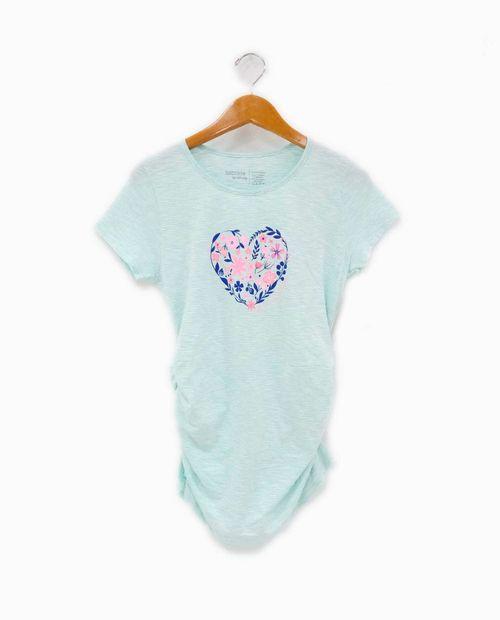 Camiseta c/redondo prt flower heart
