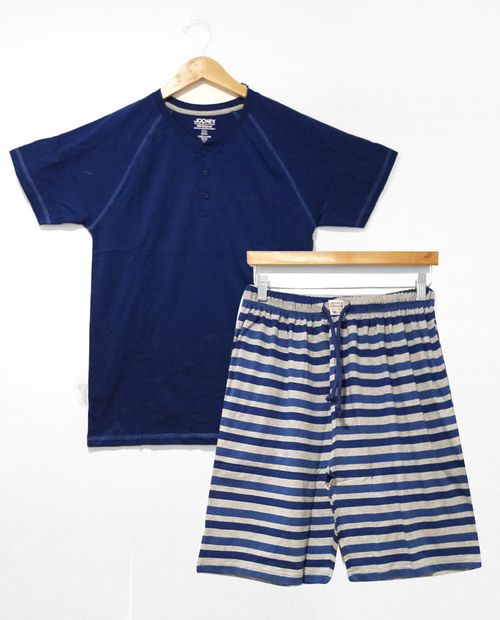 Pijama caballero manga corta bermuda azul