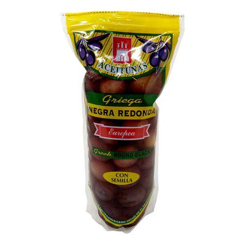 Aceituna negra redonda con hueso bolsa