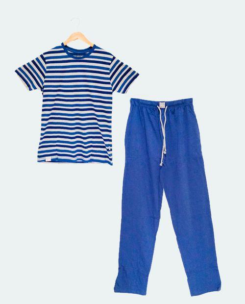 Pijama caballero manga corta pantalon azul gris
