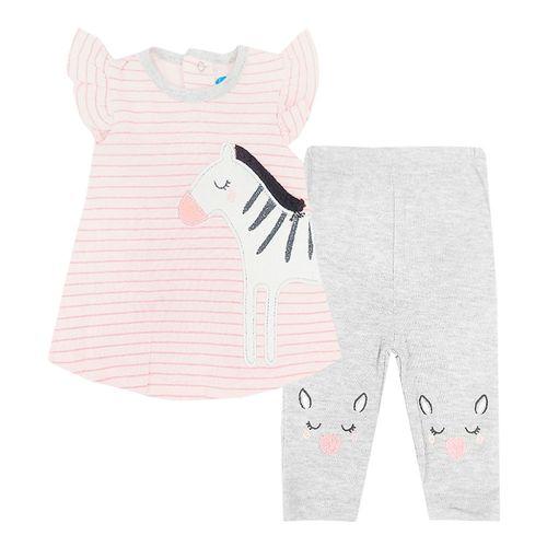 2pcs cpnjunto blusa de zebra y legging blanco para bebé niña
