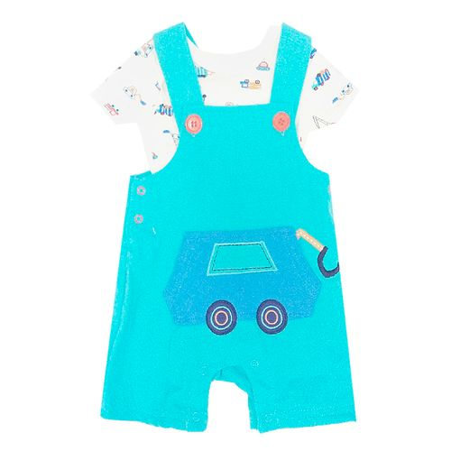 2pcs conjunto mameluco y overall aqua de tractor para bebé niño