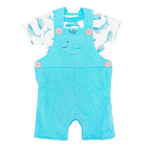 2pcs conjuto camisa blanca y overall celeste para bebé niño