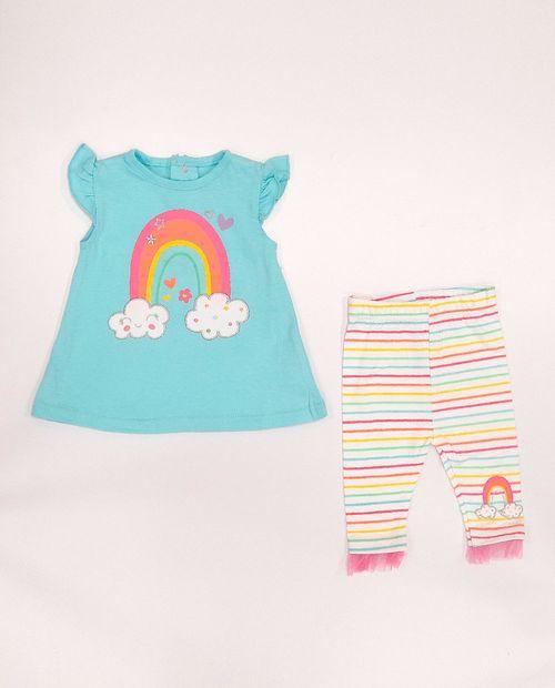 2pcs conjunto blusa aqua y legginf rayada para bebé niña