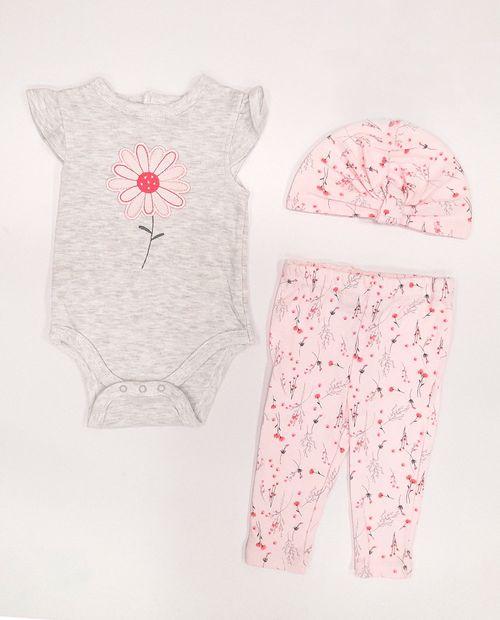 3pcs conjunto blanco y flor pant y sombrero para bebé niña