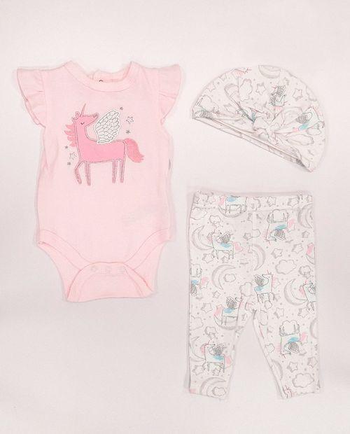 3pcs conjunto mameluco pants y sombrero para bebé niña