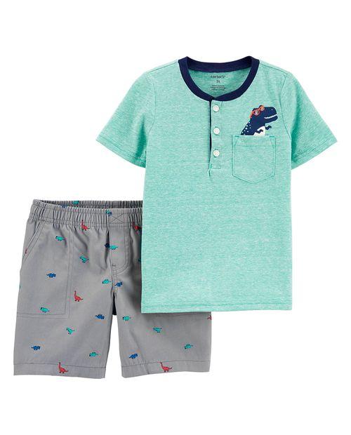 Conjunto 2 piezas blusa aqua de dino y short gris para bebé niño