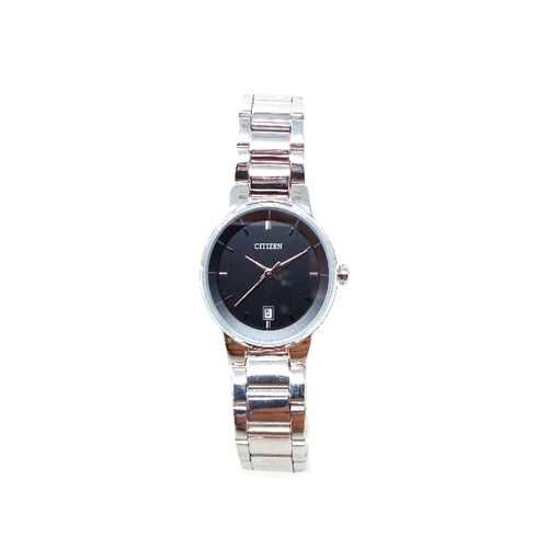 Reloj  analogo metalico plateado dama