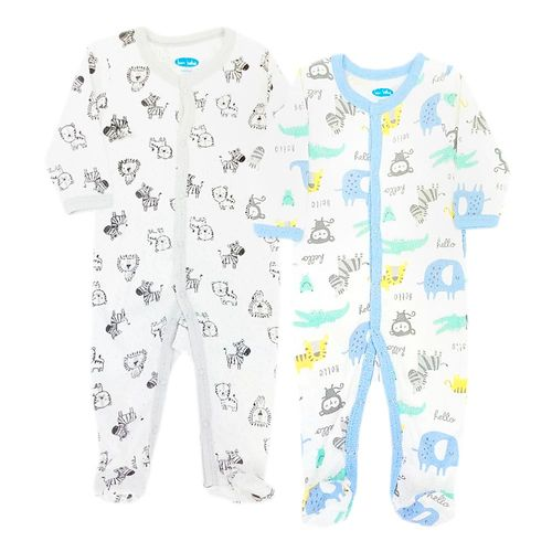 2 pcs pijamas estampadas con piecitos