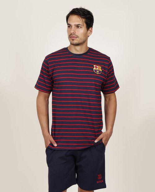 Pijama hombre rayas para caballero short camisa manga corta marino
