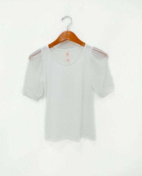 Blusa con manga mesh  blanco/ blanco
