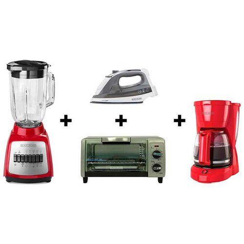 Combo licuadora, cafetera, plancha y horno