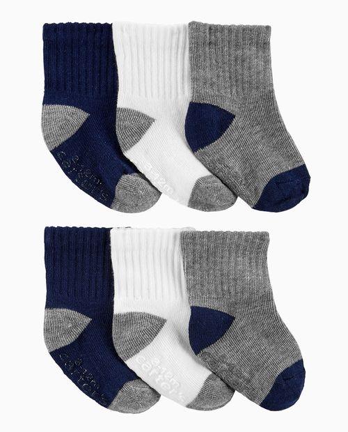 6pk calcetines grises azules y blancos para bebé niño