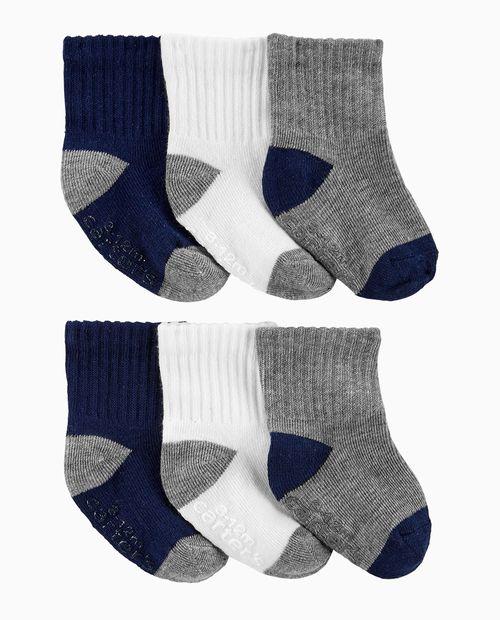 6pk calcetines gris navy y blanco niño