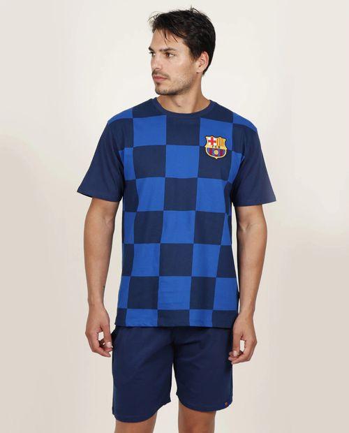 Pijama hombre chess para caballero short camisa manga corta marino