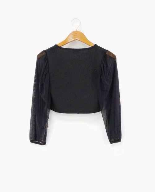 Blusa crop manga larga negro