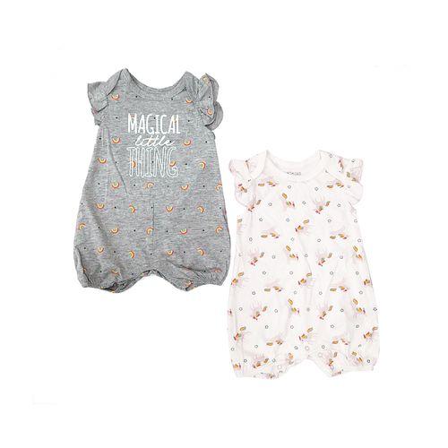 2pk rompers grisy blanco magicak para niña bebé