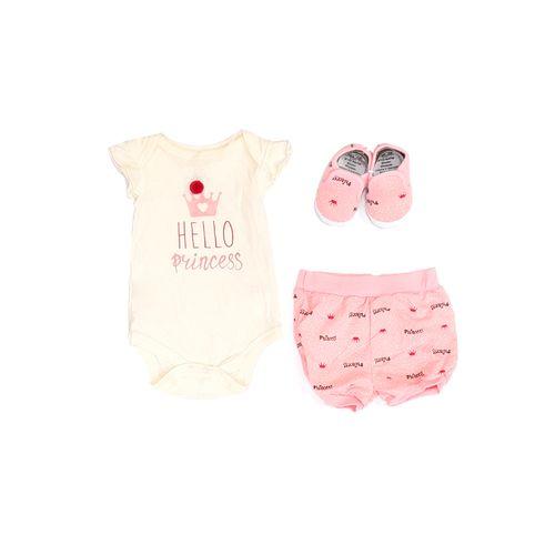 3pcs conjunto mameluco blanco y rosado short y zapatos para bebé niña