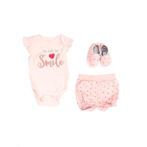 3pcs conjunto mameluco y salmón short y zapatos para bebé niña
