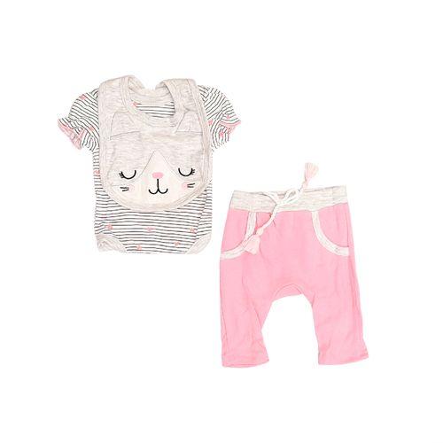 3pcs conjunto mameluco pants y babero para bebé niña