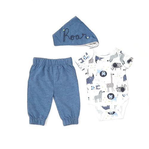 3pcs conjunto mameluco de animalitos pants azul y babero para bebé niño