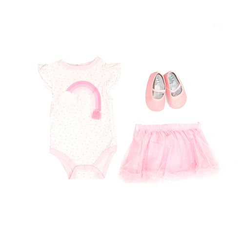 3pcs conjunto mameluco balnco tutu rosado y zapatos para bebé niña