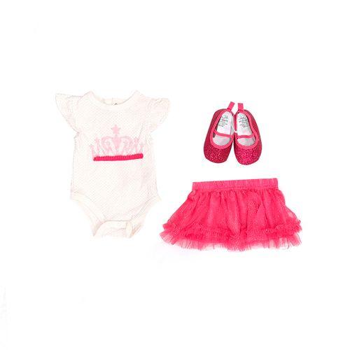 3pcs conjunto mameluco balnco tutu fucsia y zapatos para bebé niña