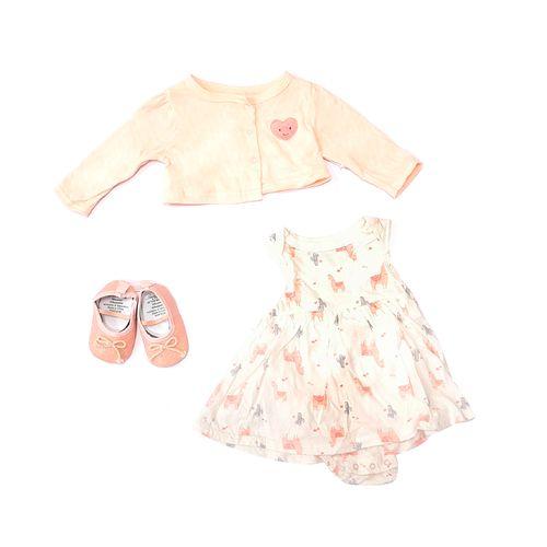 3pcs conjunto sueter vestido blanco y rosado y zapatos para bebé niña
